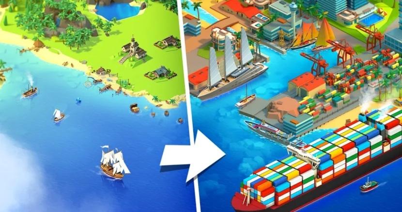 Sea Port: Construye Ciudades y Barcos en Simulador