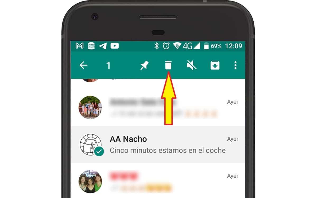 borrar conversaciones WhatsApp