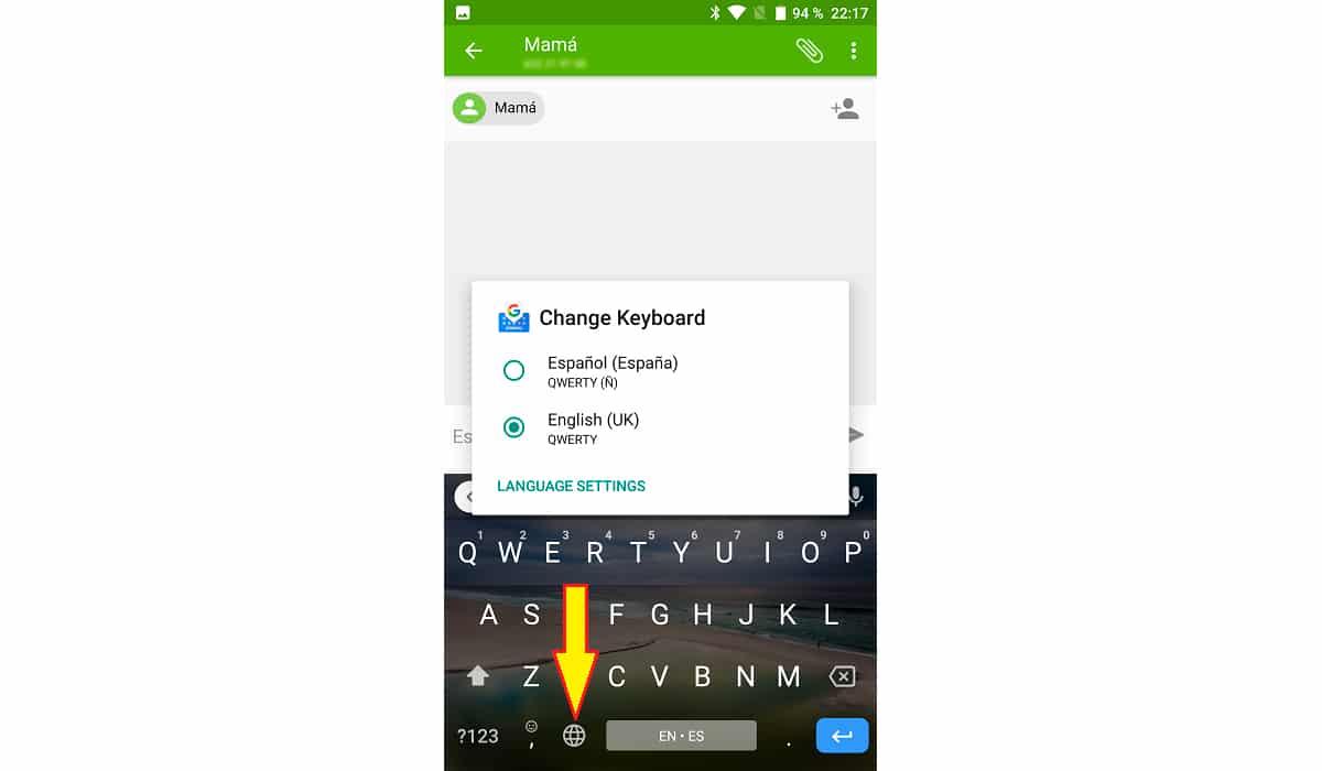 Cambiar idioma teclado Android