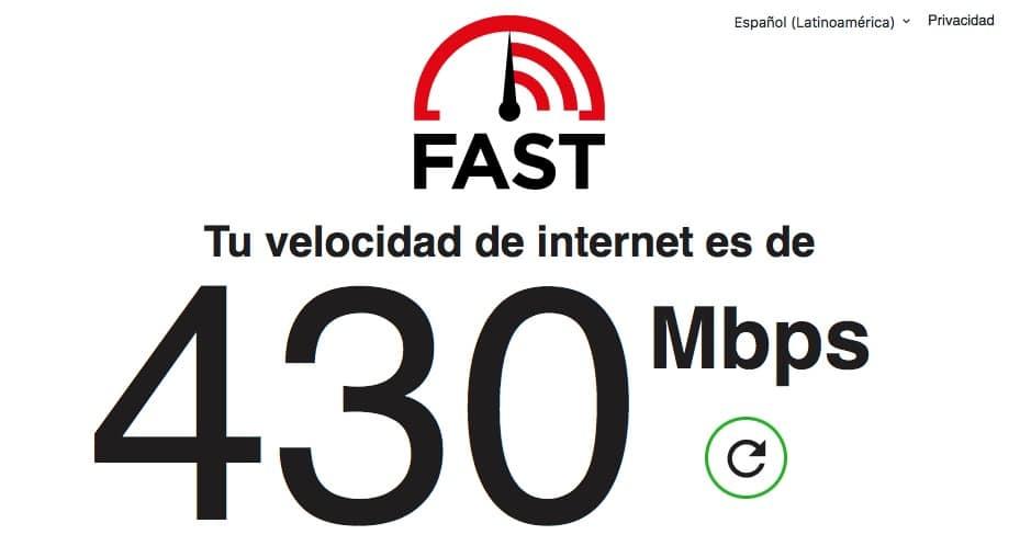 Velocidad de nuestra conexión a internet