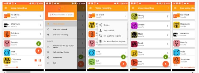 VoiceFX - cambiar la voz en Android