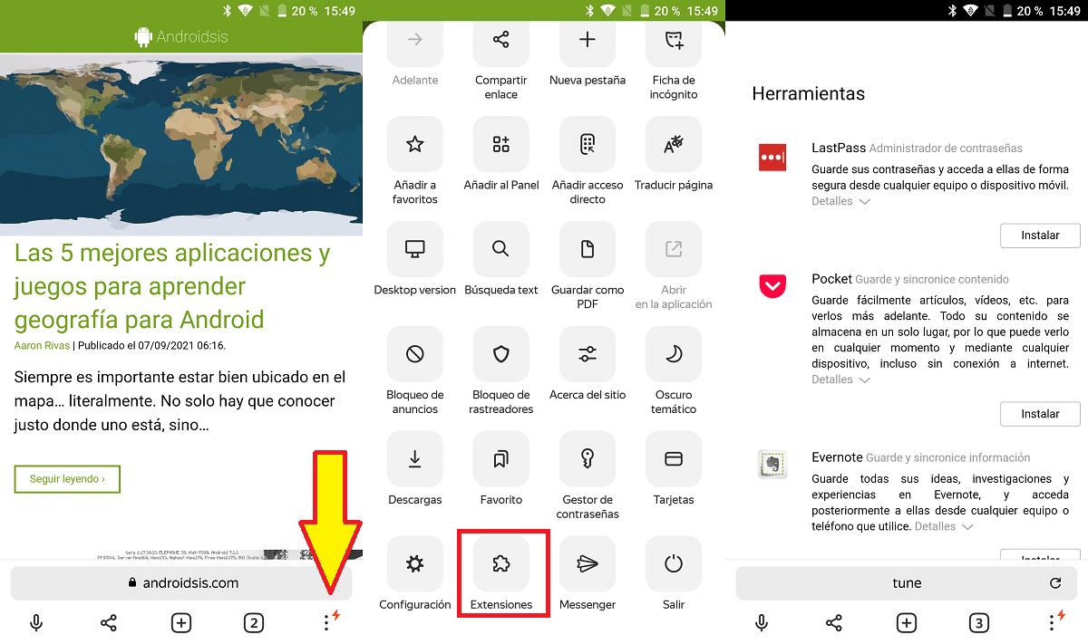 Yandex extensiones Android