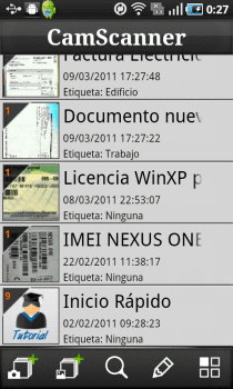 CamScanner listado de documentos