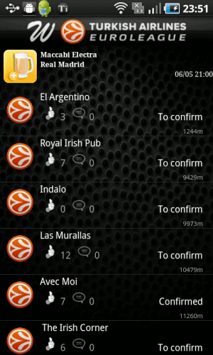pantallazos app Euroleague para Android