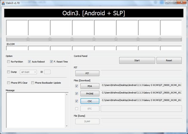 Odin instalando ROM Oficial Gingerbread 2.3.3 para Samsung Galaxy S