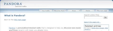 Cabecera de la Web de Pandora Radio