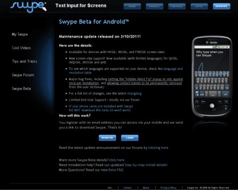 Página Web para Beta testers de Swype