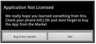 Walk&Text app Android Malware Mensaje ejemplarizante