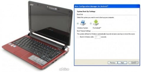 Acer AOD 250, con Android y Windows en doble boot