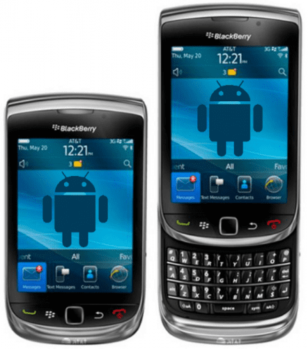 BlackBerry Torch 9800 con Android Logo Azul