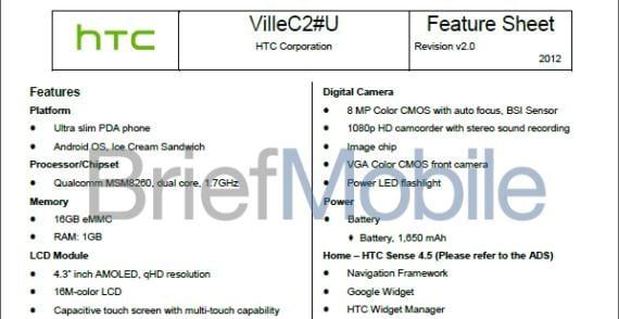 Filtración de las características del nuevo HTC Ville C