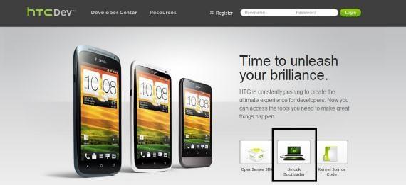 Página principal de HTCdev con botón marcado