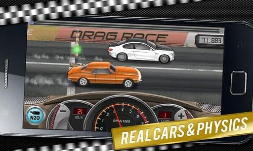Compite contra otros coches en Drag Racing en tu android