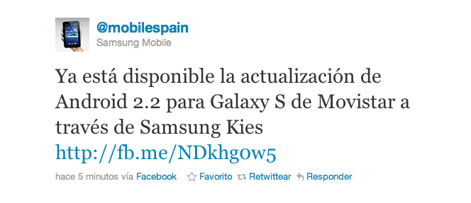 froyo galaxy s movistar Froyo disponible para los Galaxy S de Movistar