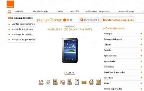 galaxy tab orange es 478x302 Galaxy Tab con Orange España ya disponible por puntos