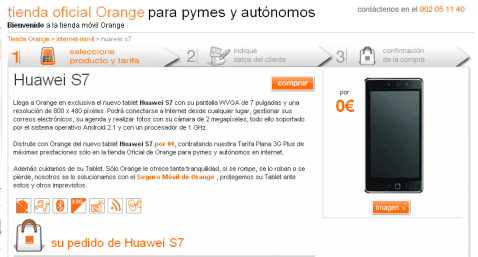 huawei S7 orange 478x257 Tablet Android Huawei S7 disponible con Orange España a partir de 0€