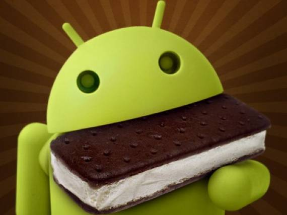 Android comiendose Ice Cream sandwich