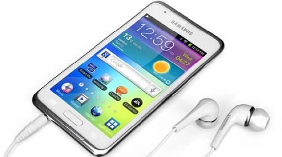 Samsung Galaxy S blanco con auriculares