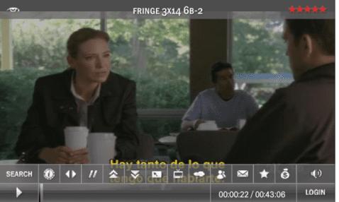 Desde el móvil, viendo Fringe con el visor de Megavideo