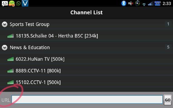 Lista de canales SopCast y opción de añadir manualmente un link para SopCast