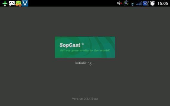 Pantalla de inicio SopCast para Android