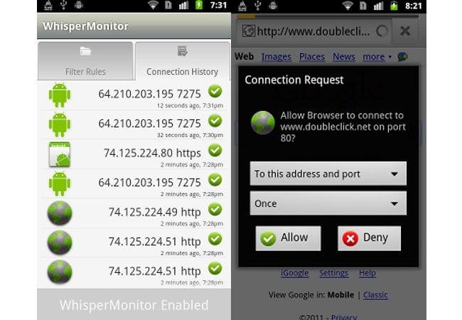 Whisper Monitor, firewall para tu Android